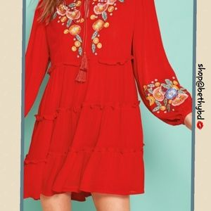 Boho 💼 Red Embroidered dress/tunic XS&Med